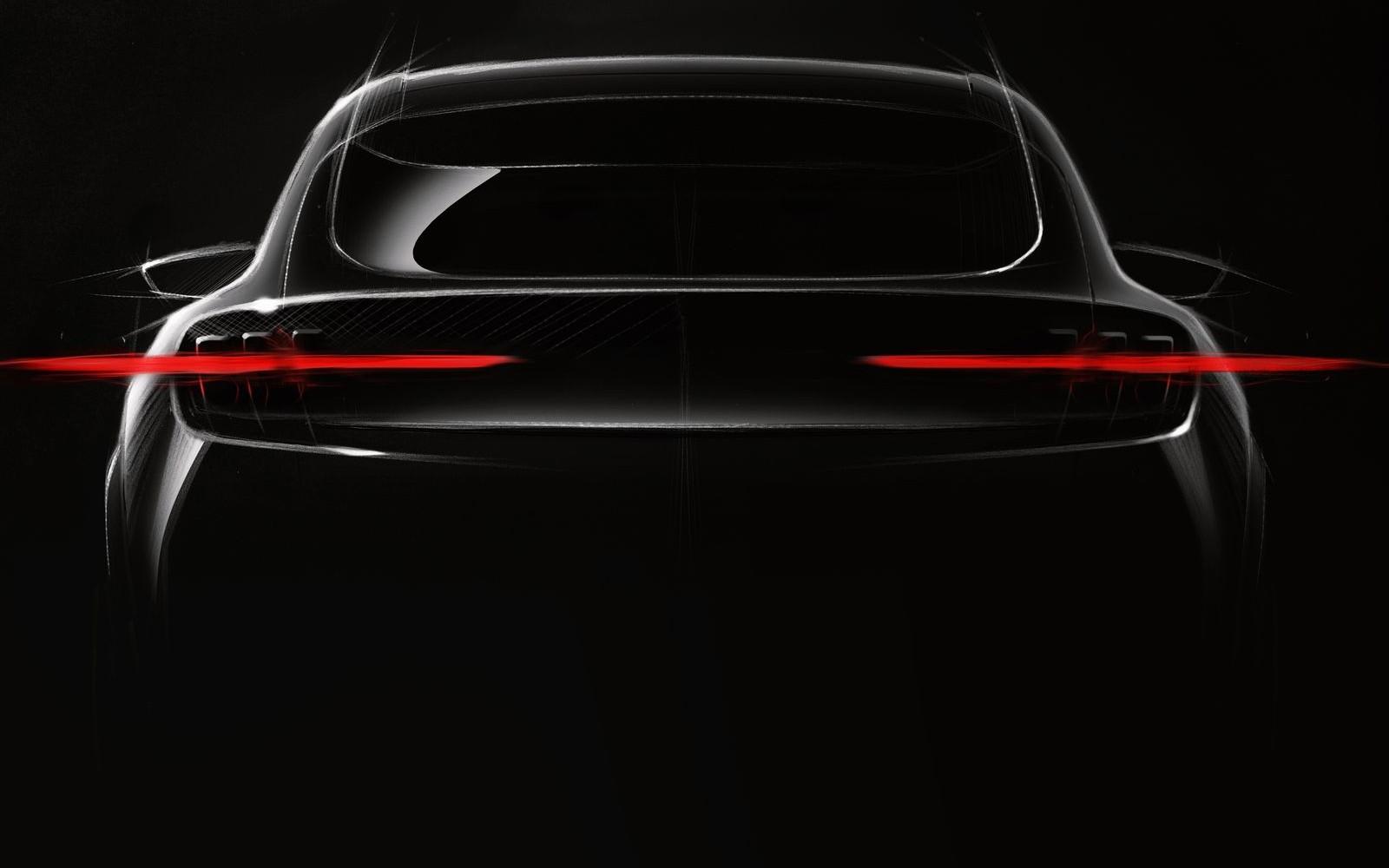 Тизер доступного купеобразного электрического кроссовера Ford, который обещают представить в 2020 году.