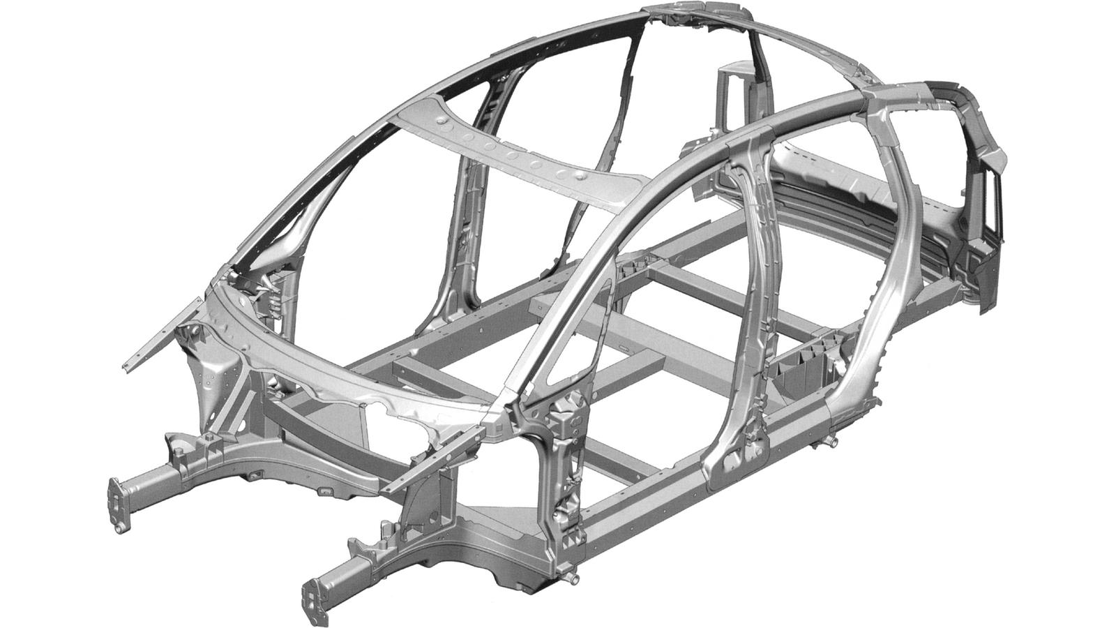 На фото: Алюминиевая пространственная рама Audi A2