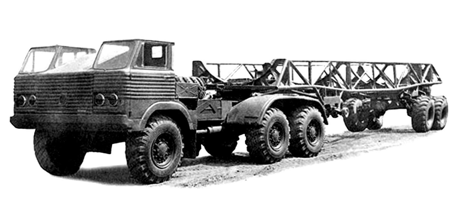 Проект применения полуприцепа 40П с седельным тягачом на шасси грузовика И-21-15 (из архива НИИЦ АТ)