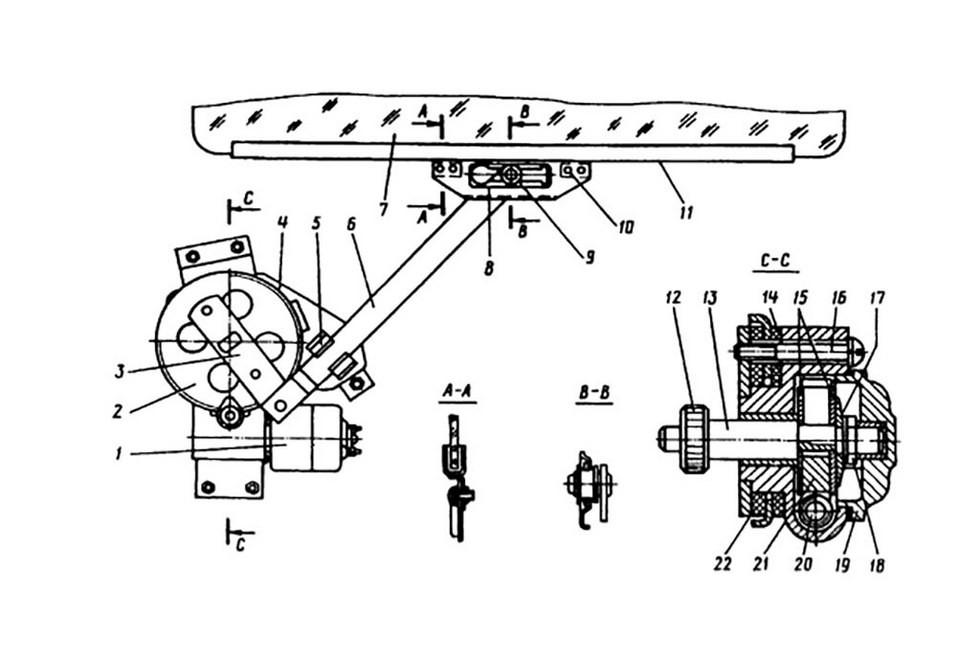 конструкция электрического стеклоподъемника ГАЗ-14