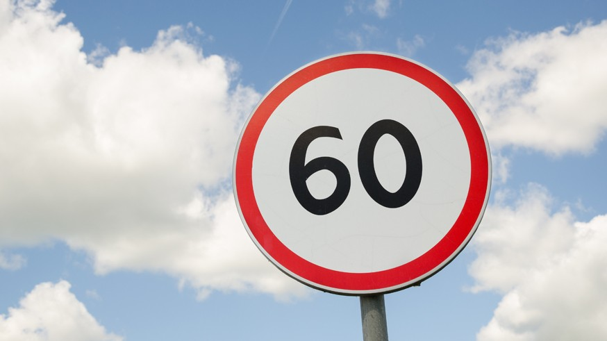 road traffic round sign limiting speed on blue sky