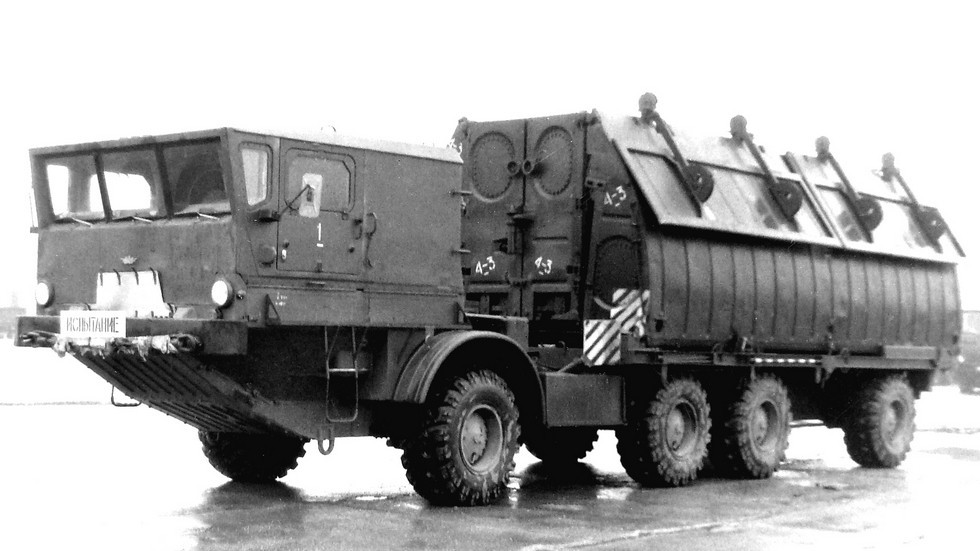 Понтонный автомобиль парка ПП-91 на шасси БАЗ-135МБЛ (из архива 21 НИИЦ)