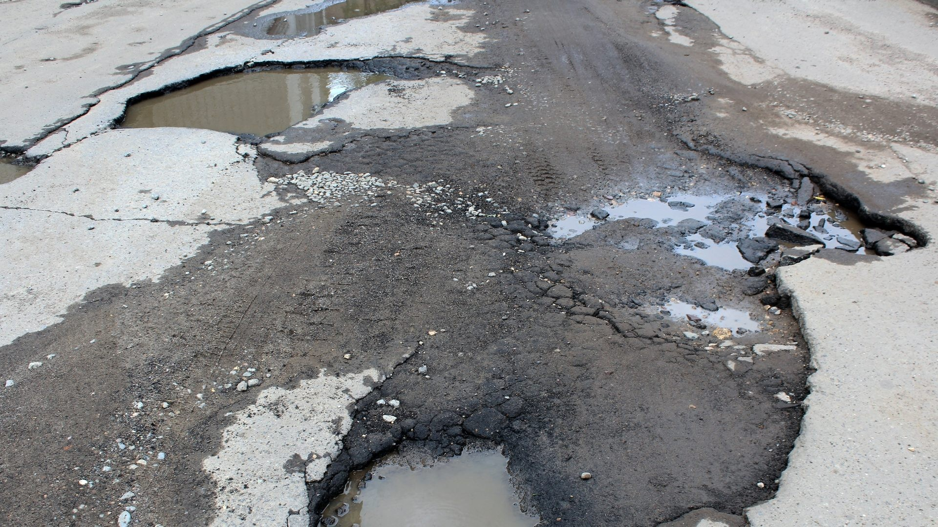 road with potholes and puddles