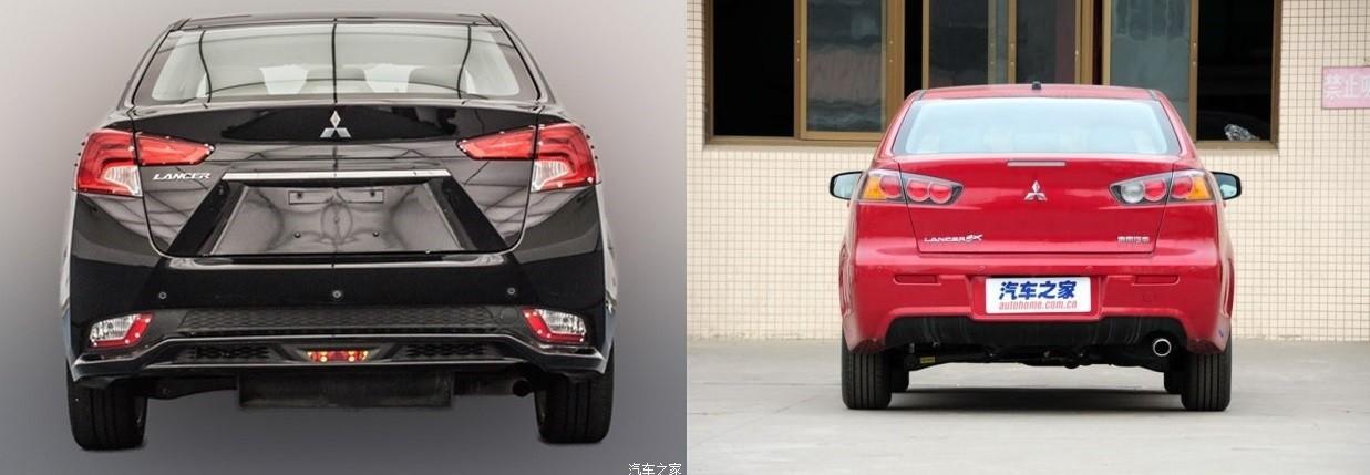 На фото Mitsubishi Lancer. Слева новый, справа старый