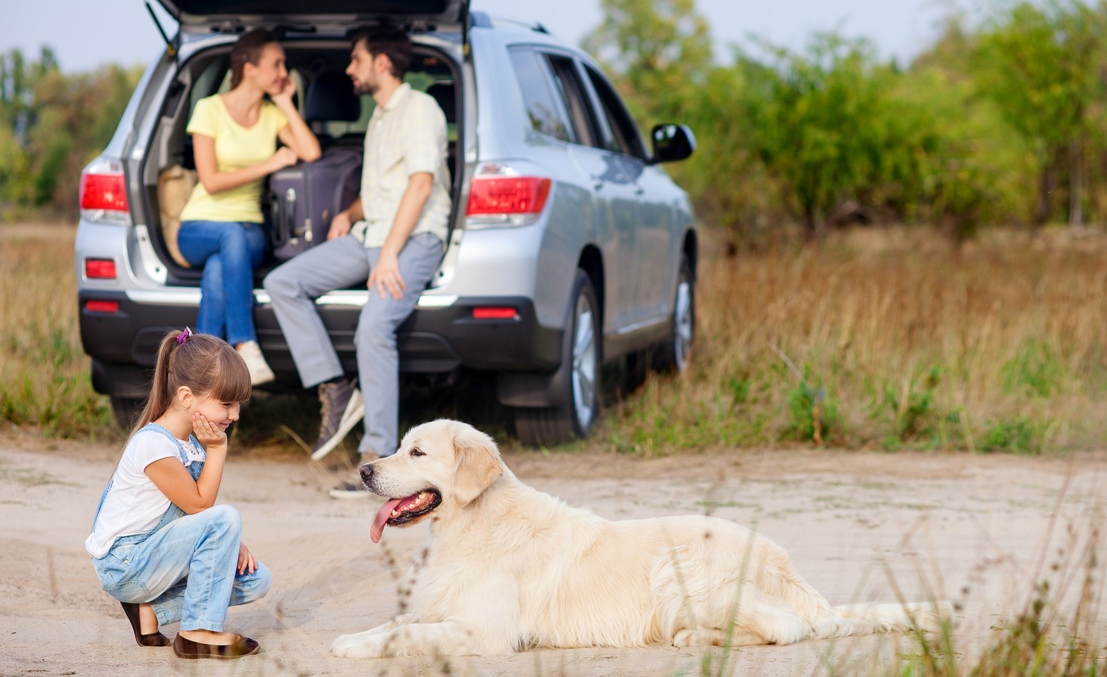 Cute family and pet are resting near vehicle outdoors