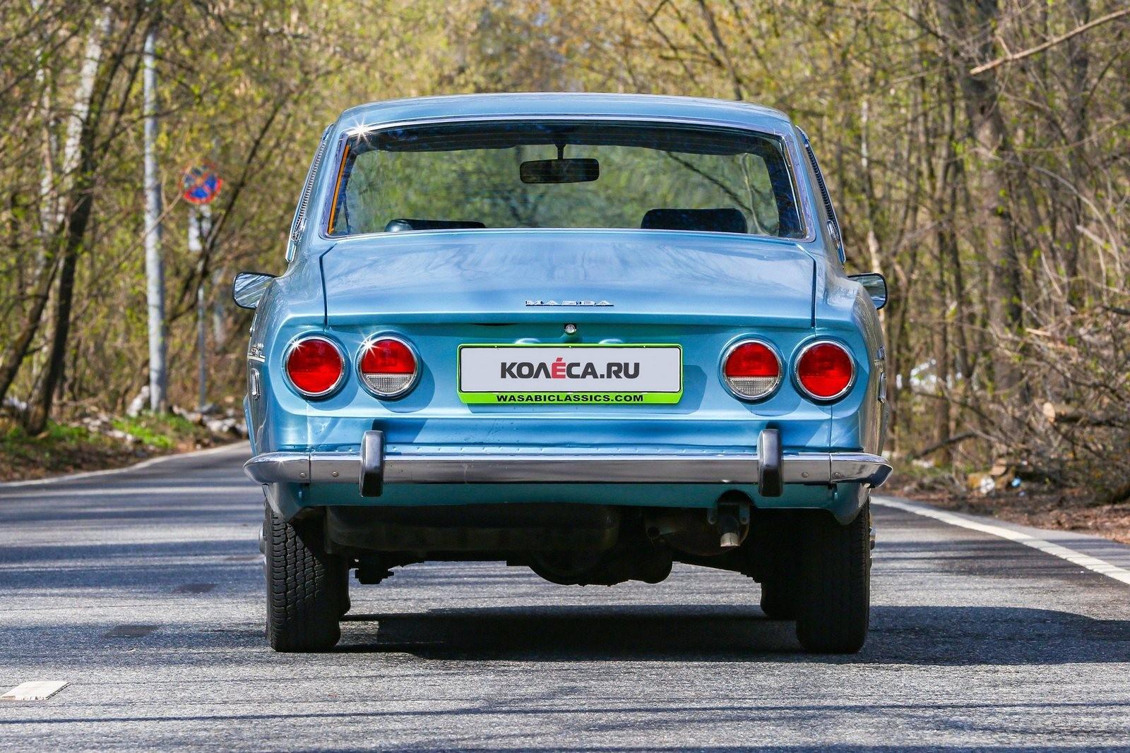 Mazda RX-2 голубая сзади