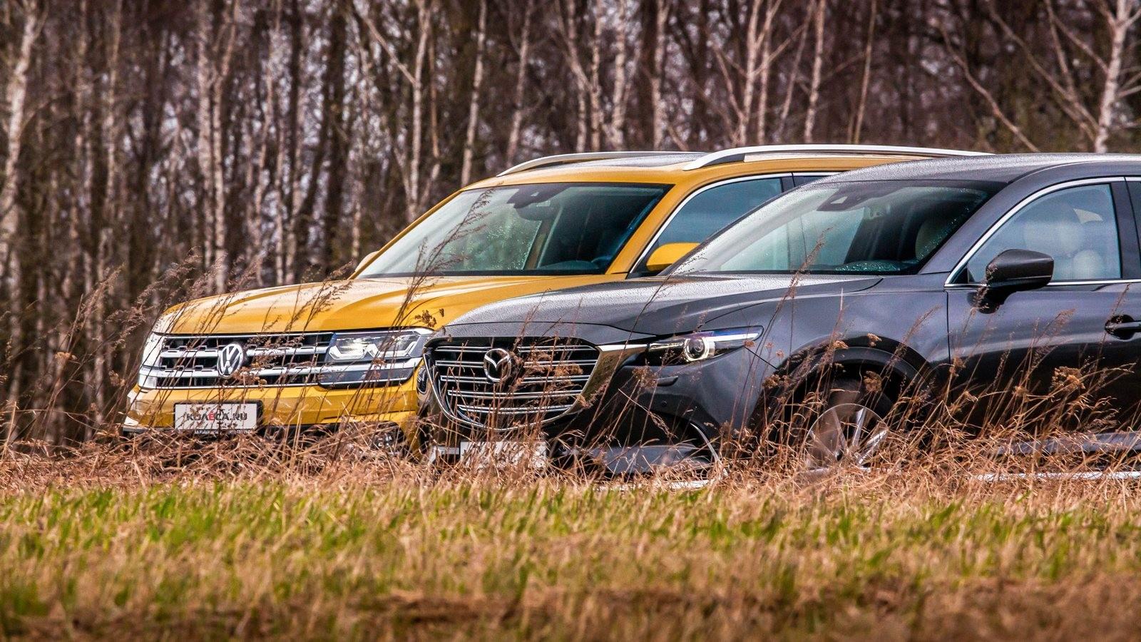Mazda CX-9 и Volkswagen Teramont вид спереди