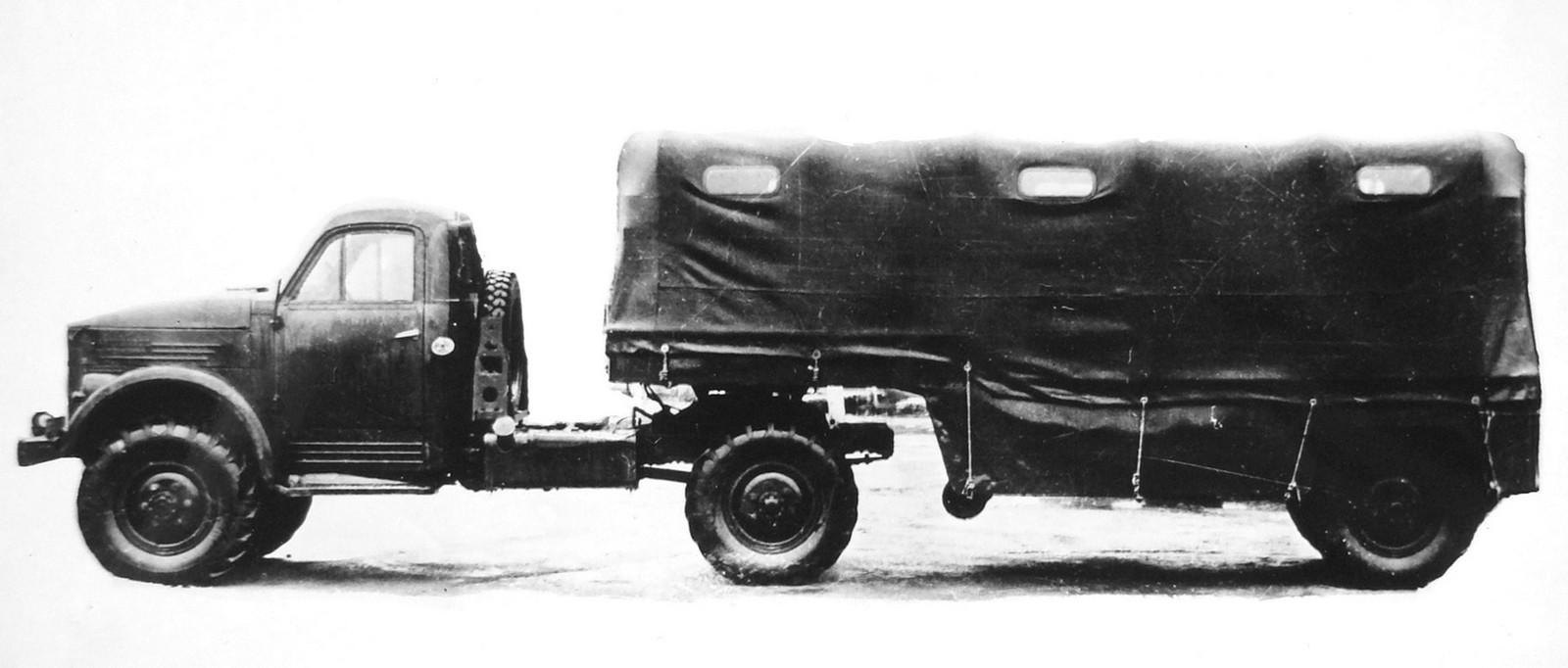 Активный автопоезд с тягачом ГАЗ-63Д и грузопассажирским полуприцепом (из архива НИИЦ АТ)