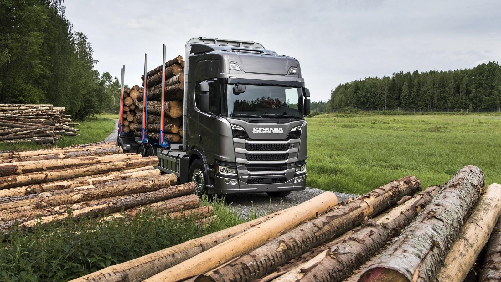 На фото: Scania R 500 6×4 Highline Timber Truck '2016–н.в.