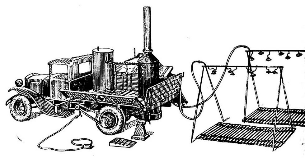 Схема душевой установки АД химических войск на автомобиле Ford-AA