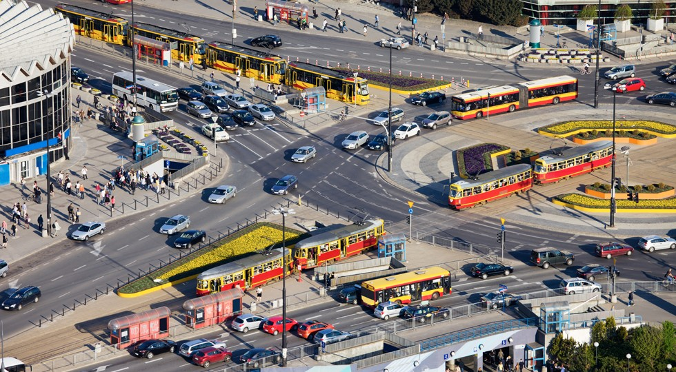 Rush Hour Traffic on Roundabout