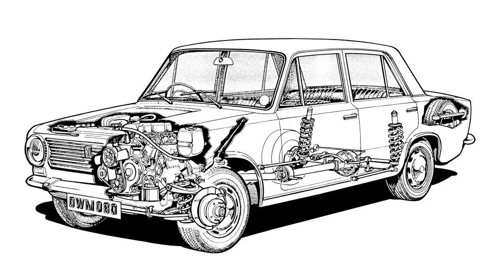 Нижневальный двигатель и задние дисковые тормоза – наиболее заметные технические отличия Fiat 124 от «копейки»