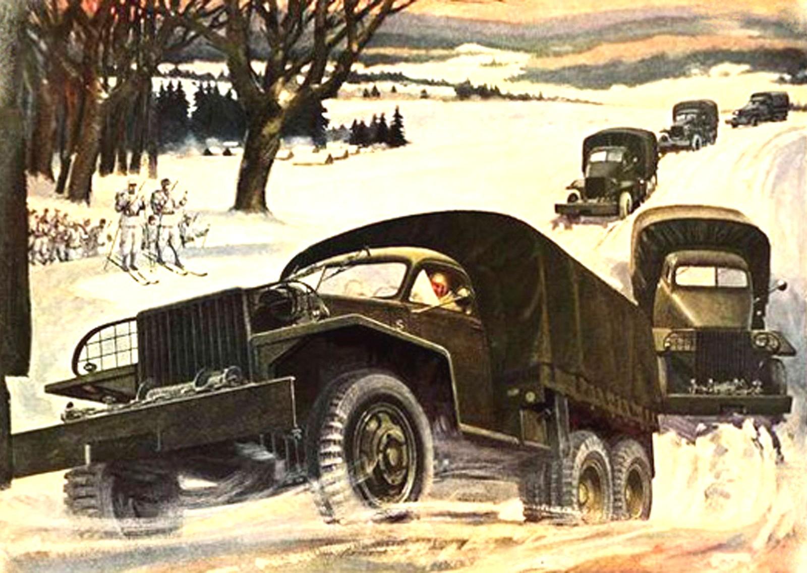 Живописная батальная сценка «Грузовики Studebaker в снегах России»