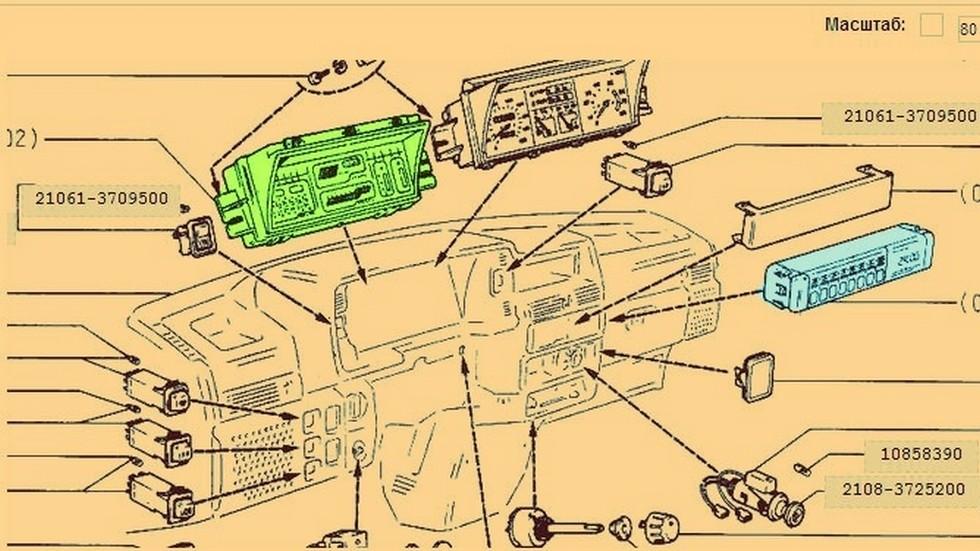 Электронная приборка (выделена салатовым) и маршрутный компьютер – предполагаемые «навороты» для улучшенных комплектаций Спутника