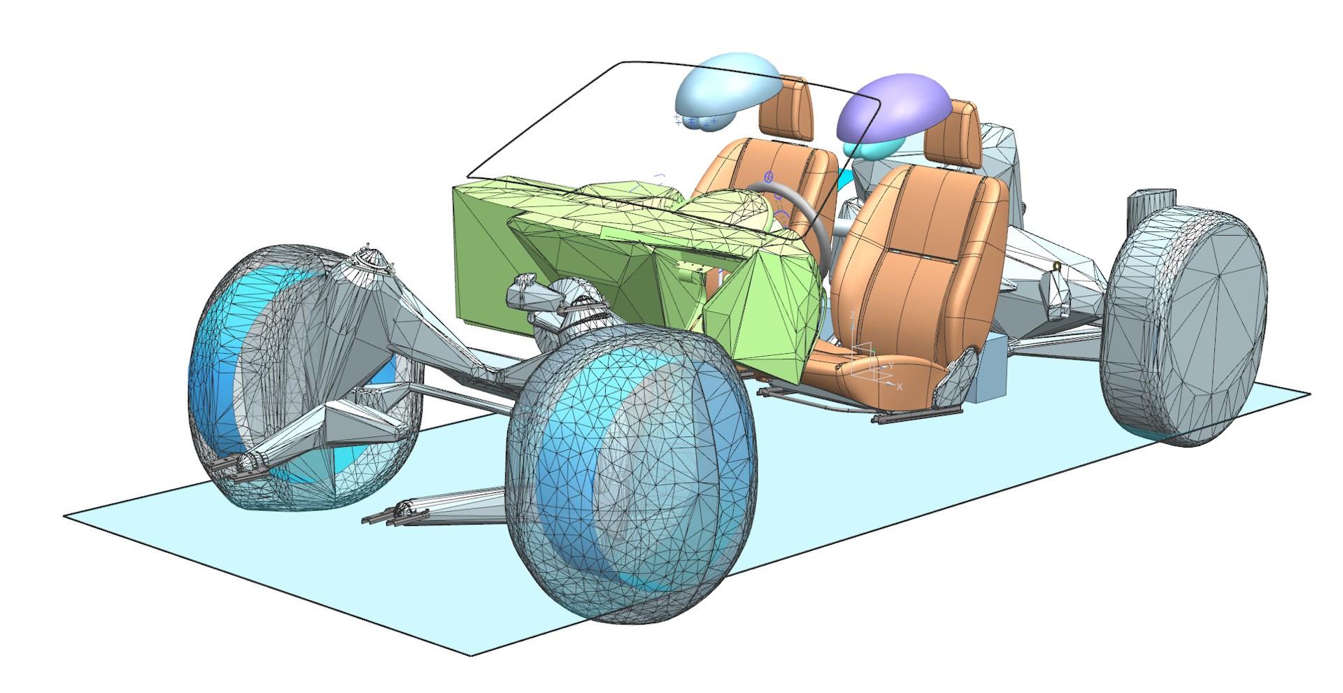 Одна из стадий 3D-проработки эргономики родстера. Показаны элементы, влияющие на посадку манекенов и обзорность