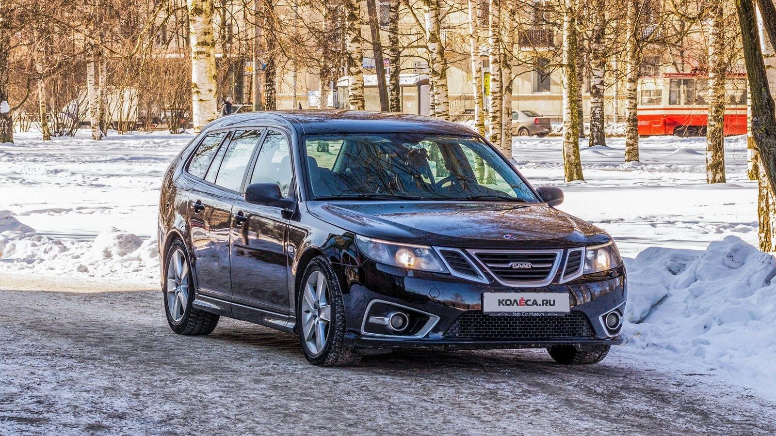 Saab 9-3 SportCombi черный вид спереди