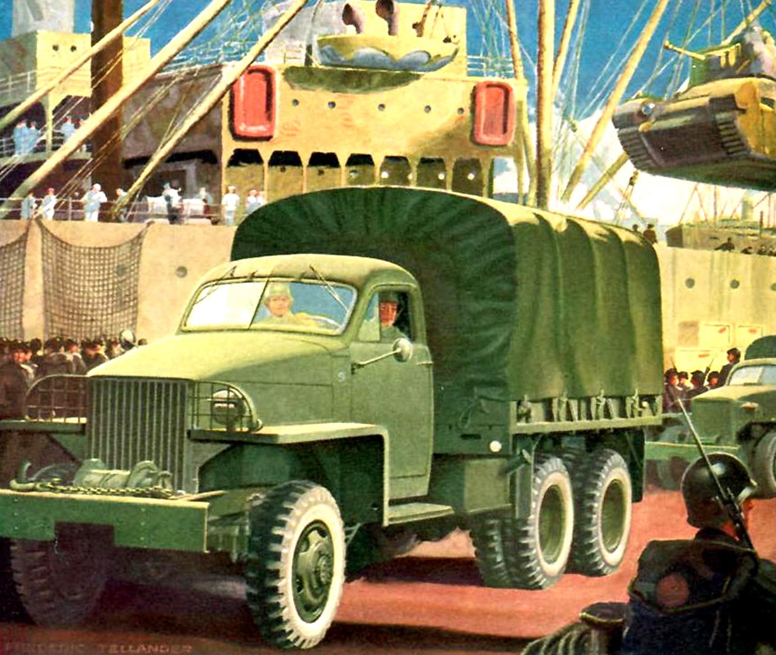 Американская картинка «Studebaker в борьбе за мир» из серии плакатов к 75-летию фирмы