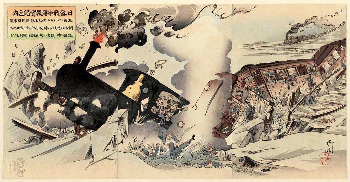 Японская карикатура. Ледовая переправа по льду Байкала