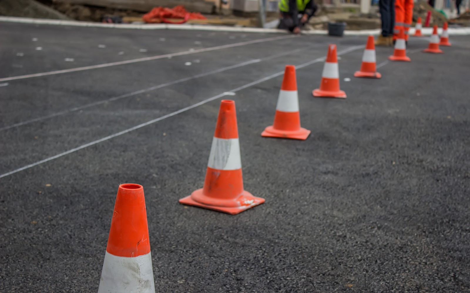preparing for marking new road lines