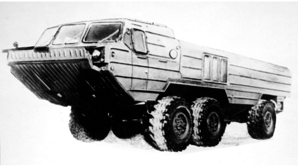 Трехосный прототип БАЗ-5947 c одиночным задним мостом. 1979 год (из архива 21 НИИЦ)