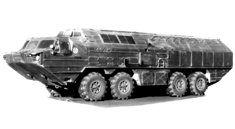 Сухопутная машина БАЗ-69481 с высоким несущим корпусом. 1987 год