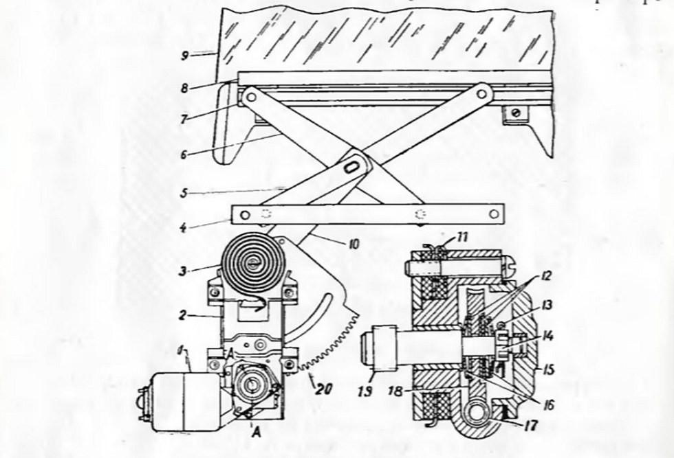 конструкция электрического стеклоподъемника ГАЗ-13
