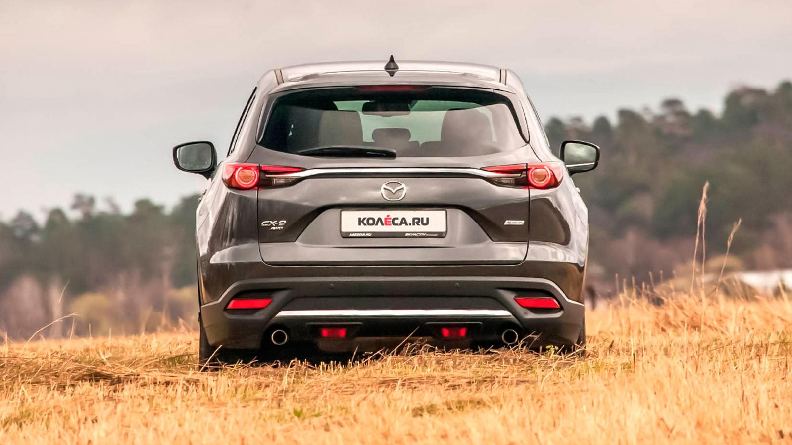 Mazda CX-9 серый вид сзади