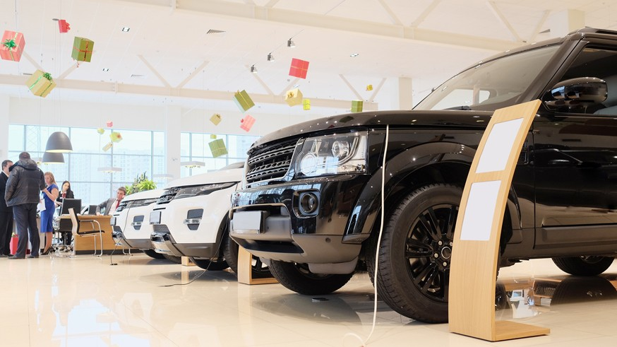 Moscow, Russia, December, 3, 2014: cars in a showroom of a car trading center in Moscow, Russia