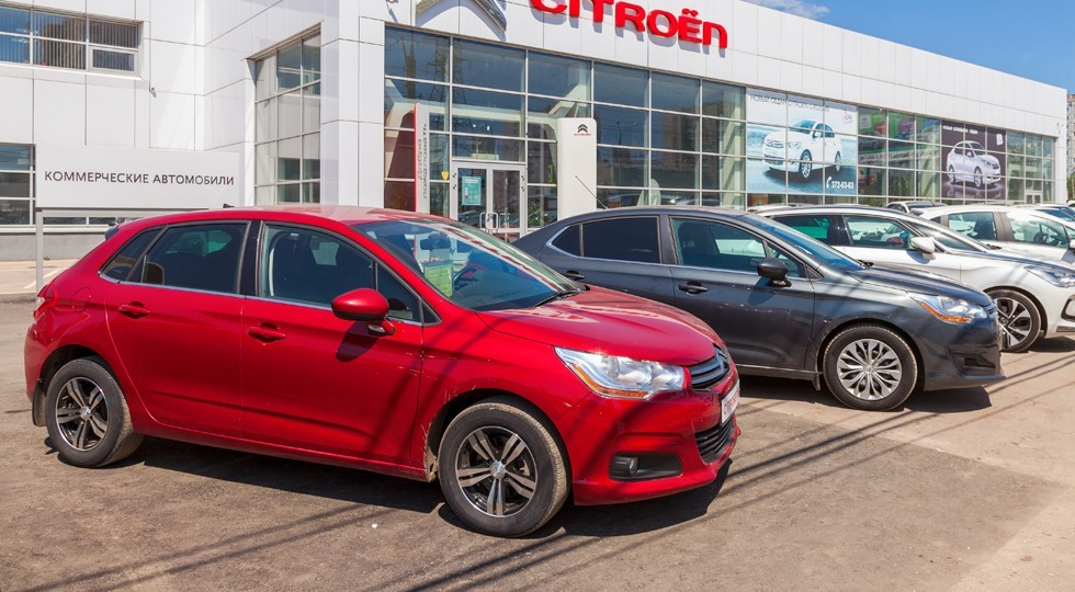 SAMARA, RUSSIA — MAY 31, 2014: Office of official dealer Citroen. Citroen is a major French automobile manufacturer, part of the PSA Peugeot Citroen group