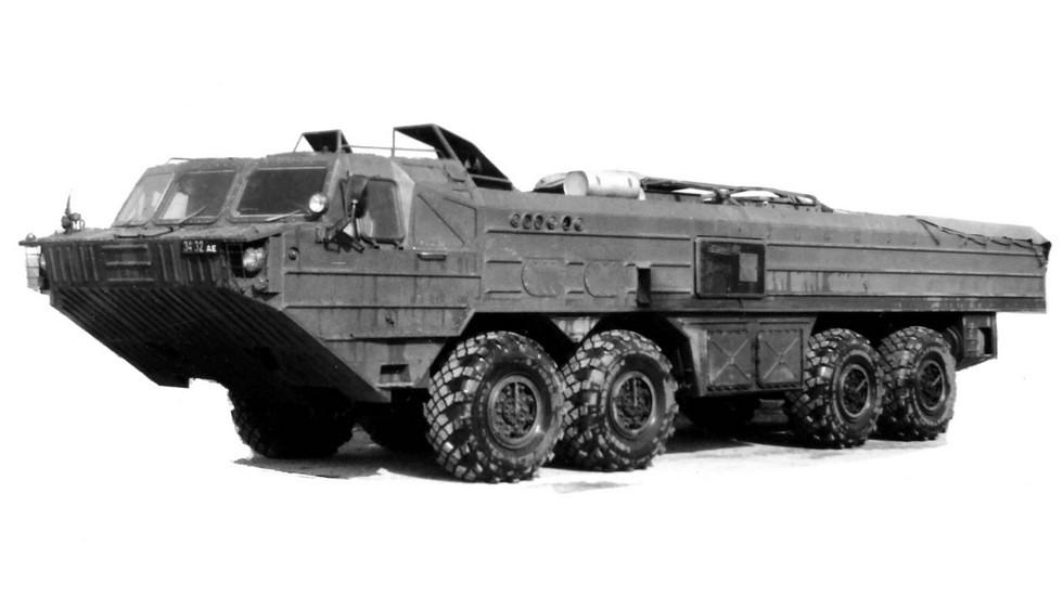 Двухмоторное шасси БАЗ-69441 для комплекса «Ока-М». 1987 год (из архива 21 НИИЦ)