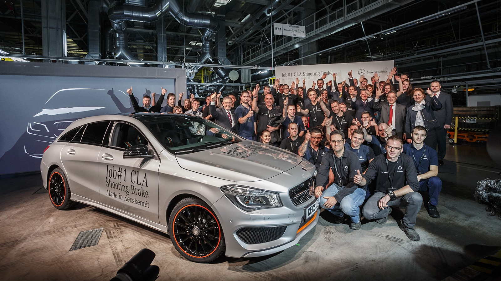 На фото: старт производства Mercedes-Benz CLA Shooting Brake на заводе в Кечкемете