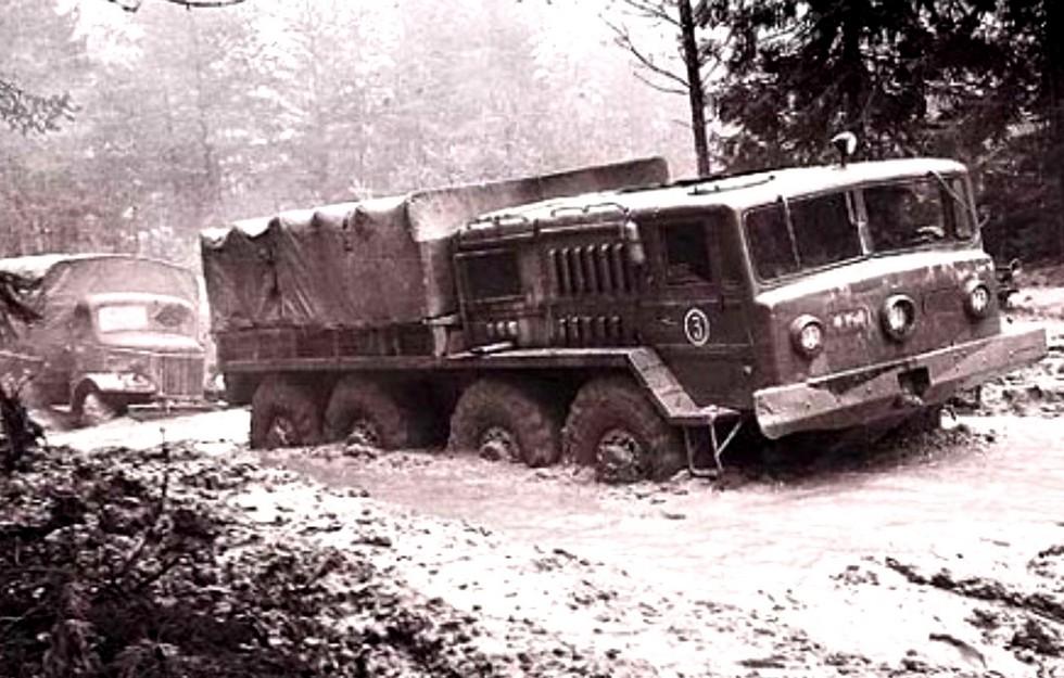 Испытания опытного балластного тягача МАЗ-535 (из архива СКБ-1 МАЗ)
