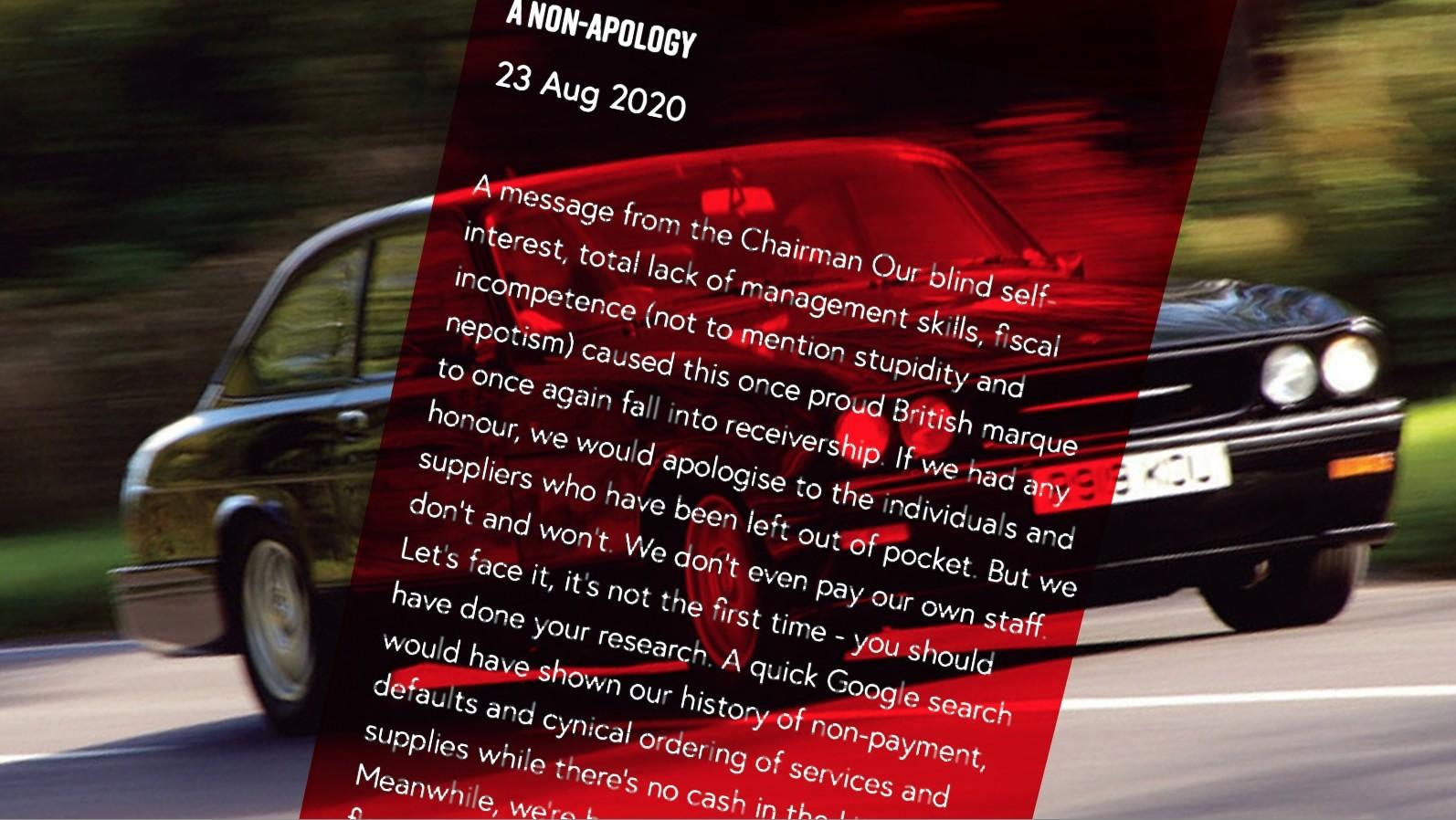 Ни стыда ни совести: скандальное сообщение владельца Bristol Cars на сайте Bristol Cars