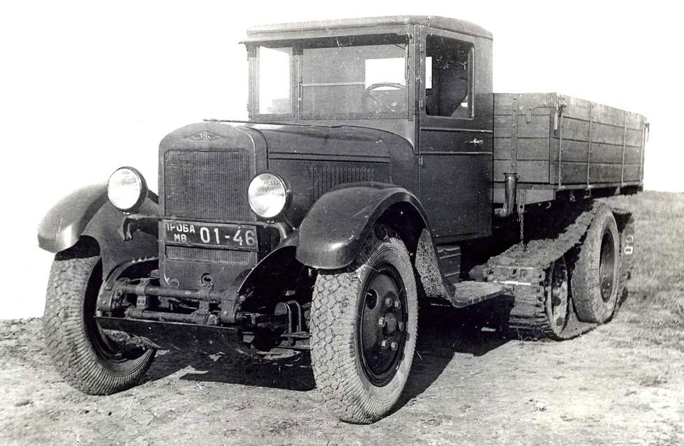Полугусеничный грузовой автомобиль ЗИС-35 на испытаниях в НАТИ