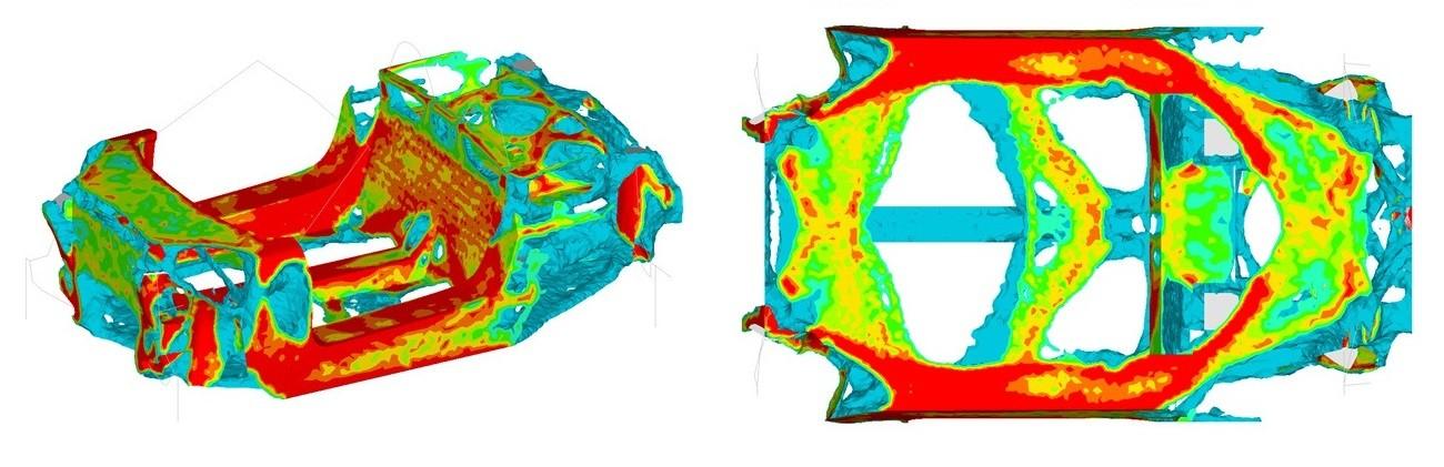 Результаты оптимизации несущей системы. Красным цветом обозначены области с максимальной плотностью элементов. Элементы с низкой плотностью не показаны