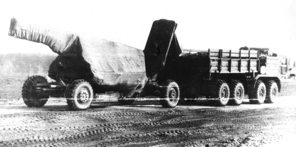Испытания тягача БАЗ-6953 в сцепе с тяжелой четырехколесной пушкой