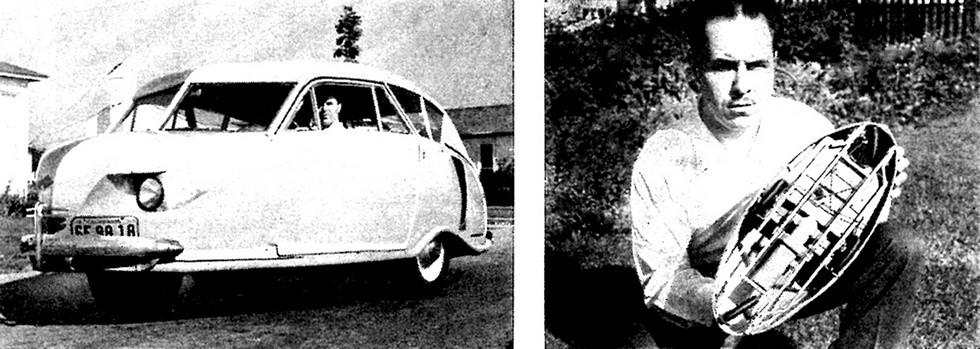 Гордон Хансен обкатывает свою машину и демонстрирует макет с ромбическим расположением колес