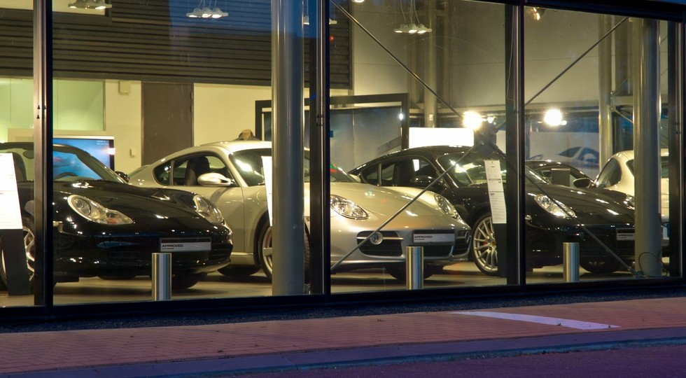 luxury cars at a dealership