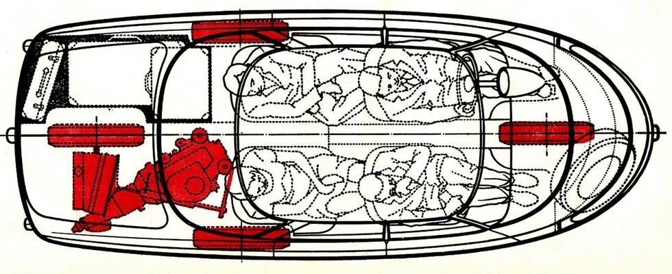 Типовая компоновка ромбокар с выделенными красным цветом колесами и силовым блоком