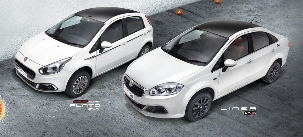 На фото: слева — Fiat Punto Evo Karbon Limited Edition, справа — Fiat Linea Royale Limited Edition