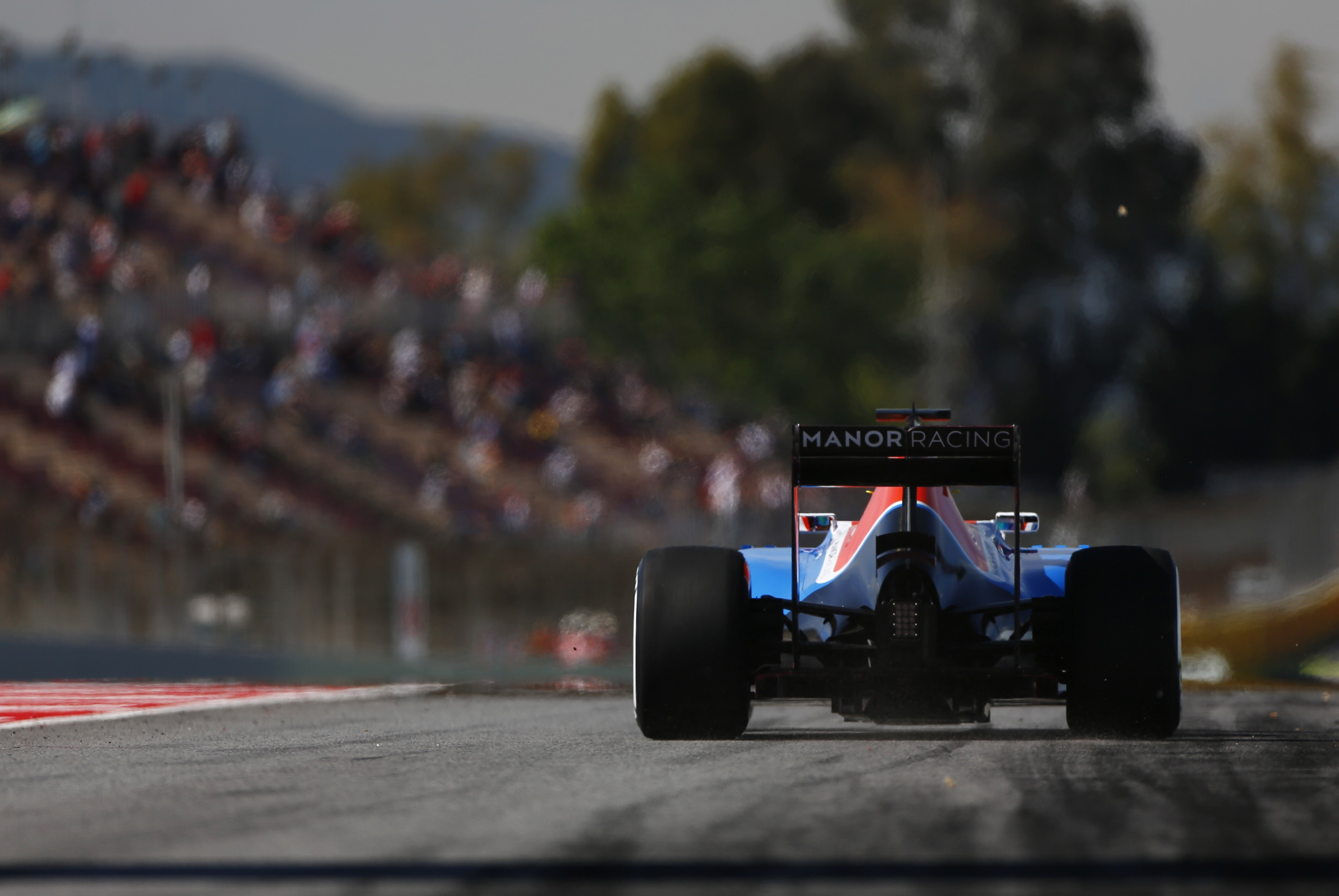 Circuit de Catalunya, Barcelona, Spain. Friday 13 May 2016. Pascal Wehrlein, Manor MRT 05 Mercedes, exits the pit lane. World Copyright: Andy Hone/LAT Photographic ref: Digital Image _ONY0040