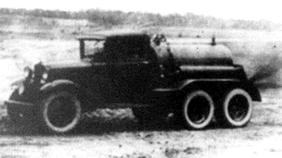 Испытания химической машины БХМ-1 для заражения местности (кинокадр)