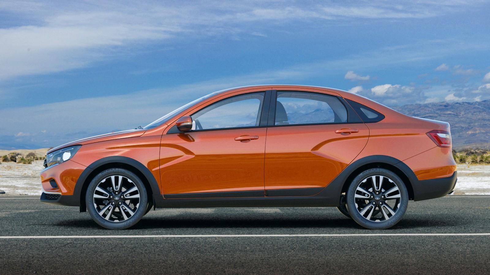 На фото: Lada Vesta Cross Concept. Кросс-версию отличают пластиковые защитные накладки чёрного цвета, 17-дюймовые колёса, увеличенный дорожный просвет и отделка салона
