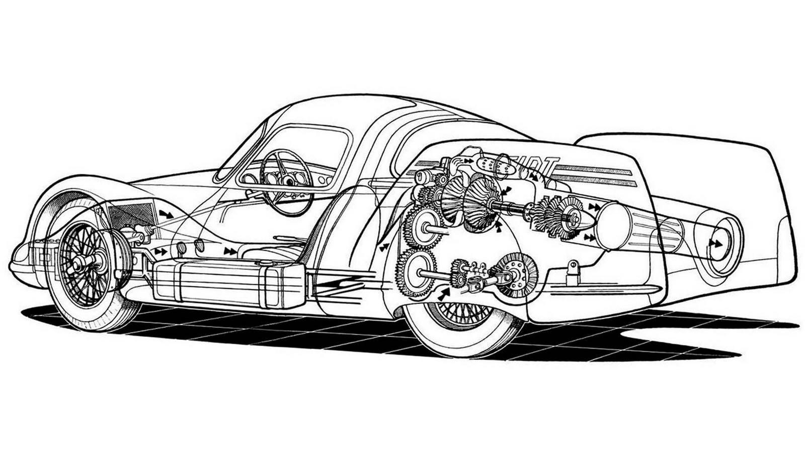 Автомобиль получил стальную трубчатую раму и независимую подвеску всех колес со стабилизаторами поперечной устойчивости. После испытаний и демонстрации на Туринском автосалоне в нём выявили множество недостатков, и дальнейшие работы пришлось прекратить.«Огненные птицы» от корпорации General MotorsКак только до далекой Америки долетели слухи о создании в Европе принципиально новых, но пока неиспытанных легковушек с ГТД к их созданию сразу подключились ведущие компании США. Понятно, что первой из них была корпорация General Motors. За короткое время она собрала три опытных работоспособных образца серии GM Firebird («Огненная птица»), более известные своим революционным самолетным стилем и брутальной внешностью, чем высокими техническими достижениями. Всё дизайнерское сопровождение контролировал вице-президент Харли Эрл.Известный дизайнер Харли Эрл во главе своего «огненного семейства» уникальных автомобилей FirebirdВ декабре 1953 года с первой экспериментальной газотурбинной машиной Firebird XP-21 (Firebird I) сразу же произошел конфуз: ее приняли за поставленный на четыре больших колеса одноместный реактивный истребитель с короткими крылышками, хвостовым стабилизатором и задним соплом.Странное авиационно-автомобильное сочетание по-американски — концепт-кар Firebird XP-21. 1953 годНелетающий истребитель GM Firebird XP-21 со спрятанным в корпусе ГТД и декоративным оперениемНо, присмотревшись, под стеклопластиковым кузовом можно было увидеть 380-сильный ГТД GT-302 компании Allison, весивший около 350 кг и разгонявший бутафорский самолет до 370 км/ч. Он снабжался по-автомобильному независимой подвеской и внутренними тормозными барабанами.Необычный газотурбинный автомобиль-самолет Firebird I в экспозиции GM Heritage CenterЧерез три года был представлен более строгий четырехместный вариант Firebird II (XP-43) с новым ГТД GT-304 в 200 сил при рабочем режиме 25 тысяч оборотов в минуту и дисковыми тормозами. На этот раз он был похож на гоночный автомобиль с передним остроконе