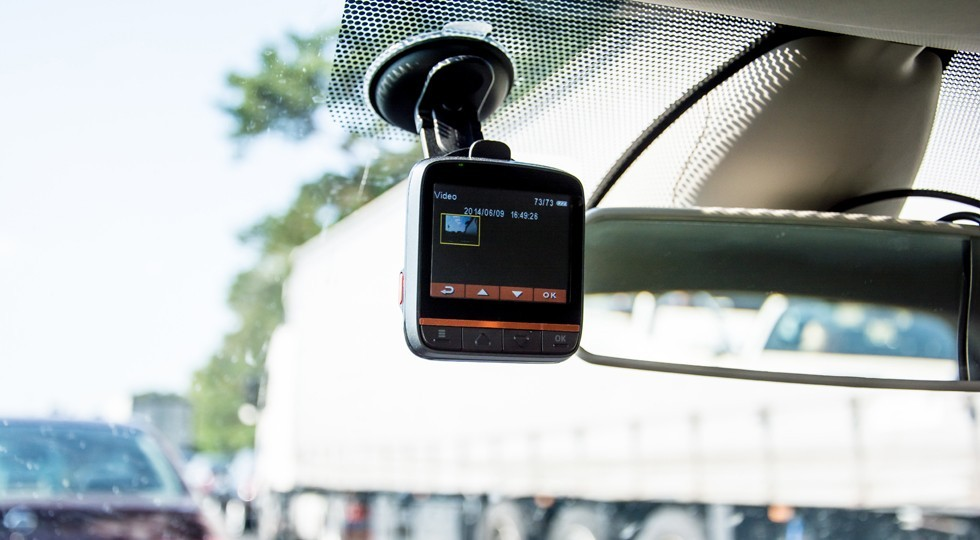 car video recorder instaled on the window