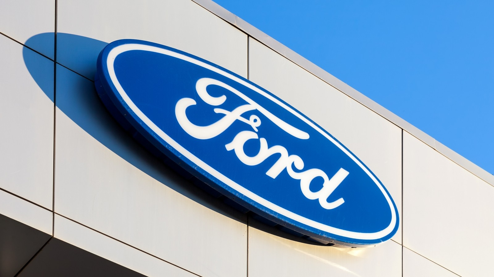 The emblem Ford on the office of official dealer