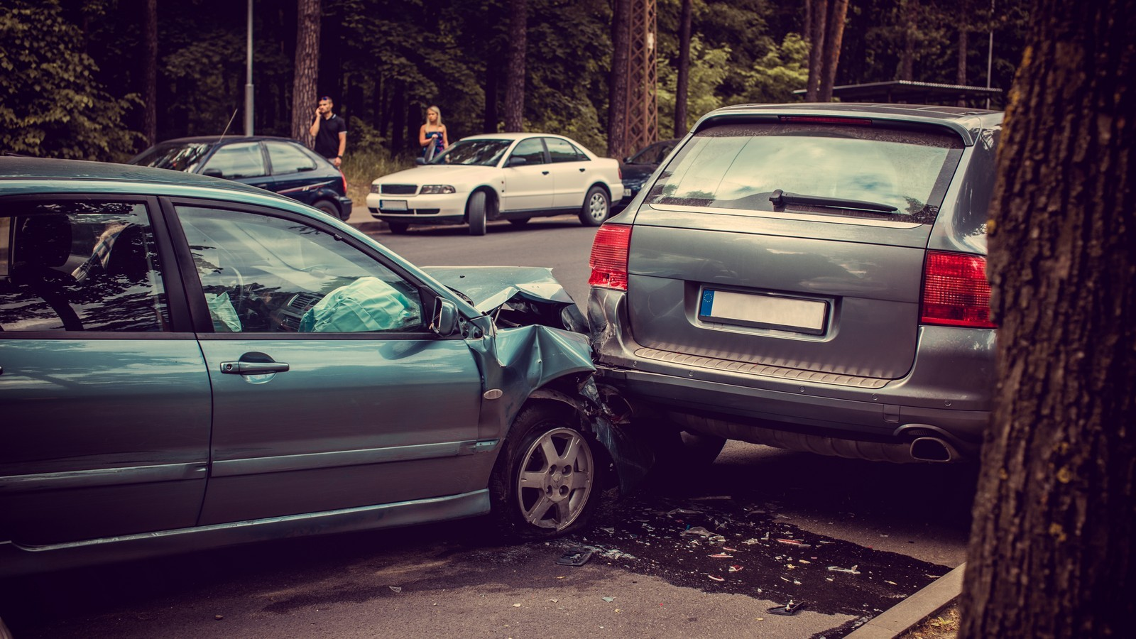 Cars accident on a road.