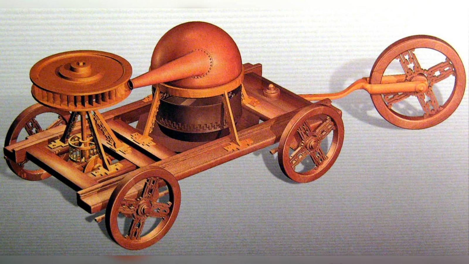Это незаметное для мировой автомобильной индустрии событие выглядело тем более странным, что создание самоходных повозок с газотурбинными устройствами началось ещё в конце XVII века, и в дальнейшем, вплоть до 1950-х годов, их неспешно доделывали, превратив в особые компактные «моторы» для транспортных нужд. Примером уникальной самодвижущейся древности с такого рода «двигателем» считается тележка с паровым котлом, которую в 1672 году изобрёл фламандский миссионер и учёный Фердинанд Вербист. Его идея заключалась в направлении струи горячего пара на горизонтальное колесо с лопатками, приводившее в движение два передних колеса.Макет самоходной повозки Фердинанда Вербиста с древним прообразом газотурбинной установкиТак что же это за уникально простой, компактный и мощный газотурбинный двигатель (ГТД) в одновальном исполнении для легковушек? В обобщенной конструктивной схеме он снабжался радиальным компрессором, засасывавшим воздух в камеры сгорания, куда впрыскивалось недорогое жидкое топливо. При воспламенении горючей смеси раскаленные газы раскручивали как компрессор-нагнетатель воздуха, так и тяговую турбину с шестеренчатым редуктором, понижавшим число оборотов до значения, приемлемого для привода колес автомобиля.Упрощенная схема автомобильного ГТД: 1 — компрессор, 2 — тяговая турбина, 3 — турбина компрессораВ рекламных проспектах ГТД называли «альтернативой ДВС» и сообщали, что они могут работать «на всём, что течёт и горит», включая арахисовое масло, спирт, одеколон и духи Chanel. В разных версиях максимальная температура газов на выходе из ГТД колебалась от 800 до 1200 градусов. Внешне легковые газотурбинные концепт-кары почти ничем не отличались от серийных автомобилей или являлись принципиально новыми конструкциями, но в обоих случаях были собраны в опытных образцах, не предназначенных для серийного производства.Газотурбинные автомобили компании RoverЛавры создания первого в мире газотурбинного легкового автомобиля принадлежали британской компании Rover, инженер