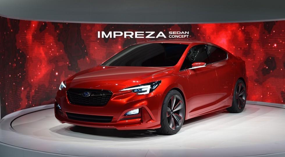 На фото: концепт Subaru Impreza, показанный в ЛА в 2015 году. Серийную модель представили в Нью-Йорке в марте 2016-го
